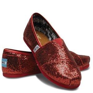 5409305fd09e Toms. Toms Classics Red Glitter Shoes ...